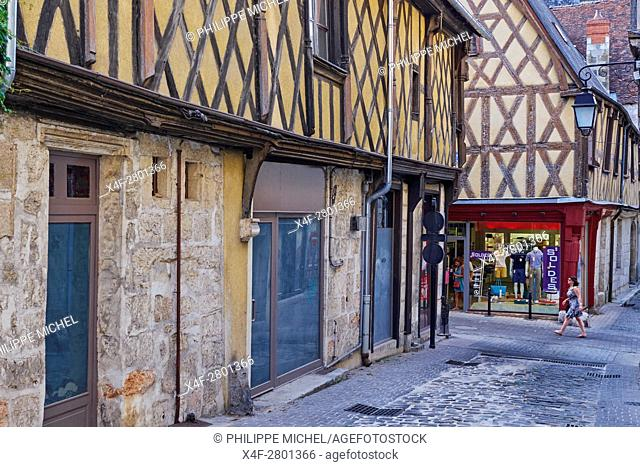 France, Cher (18), Bourges, center, half timbered houses, rue Bourbonnoux