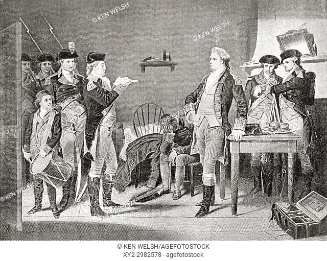Delivering the death warrant of John André. John André, 1750 - 1780. British Army officer hanged as a spy by the Continental Army during the American...