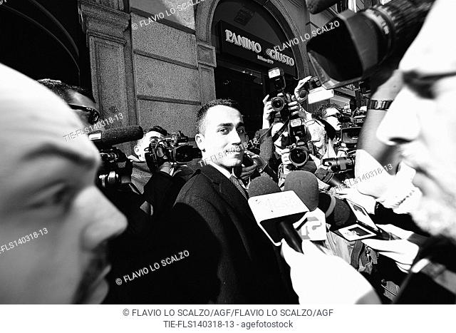 Italian leader of 5 Star Movement Luigi Di Maio, arrives at the meeting with Confcommercio,Milan,ITALY-14-03-2018