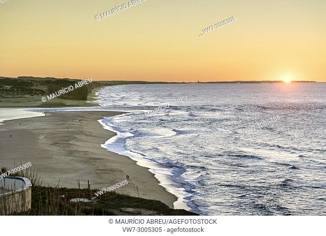 Foz do Arelho beach at sunset. Caldas da Rainha, Portugal