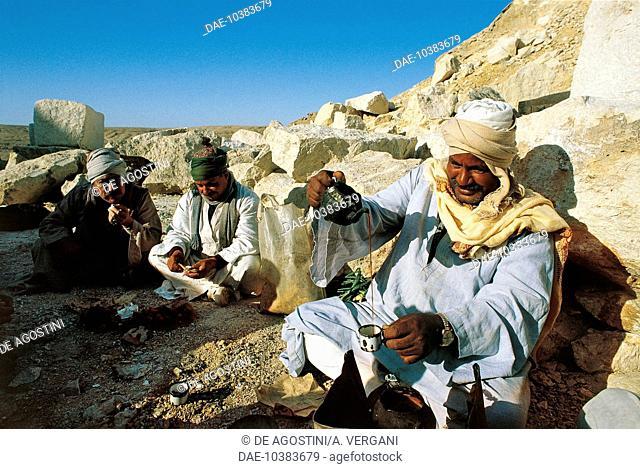 Men having a tea break in a stone quarry, Zawyet el'Aryan, Sinai, Egypt