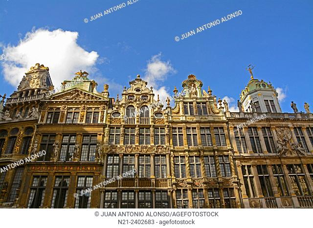 Buildings on the western side of La Grand Place. Brussels, Belgium, Europe