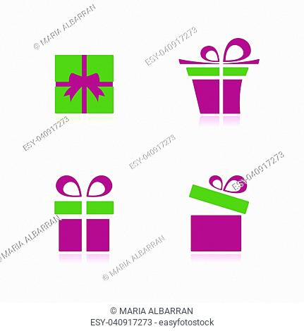 Pink and green gifts icon set with reflection