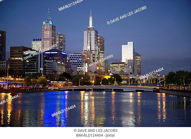 Financial district skyline lit up at night, Melbourne, Victoria, Australia