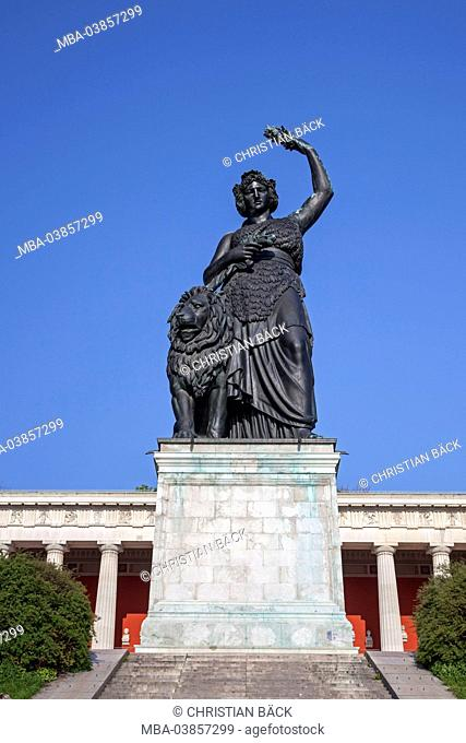 Bavaria statue in front of the Ruhmeshalle (hall of fame) at the Theresienwiese, Munich, Ludwigvorstadt Isarvorstadt, Upper Bavaria, Bavaria, Germany