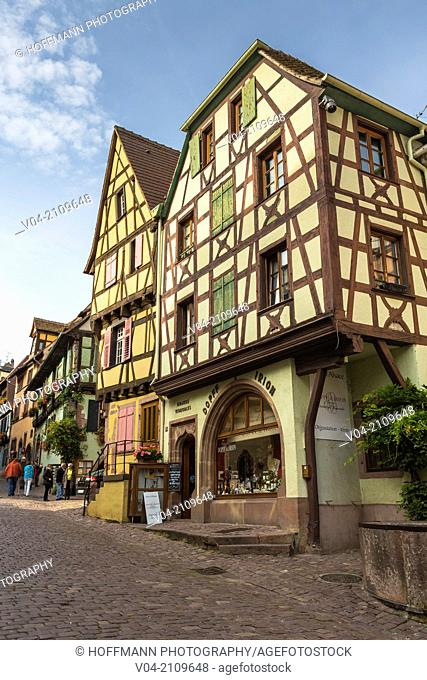 Picturesque timbered houses in Riquewihr, Alsace, France, Europe