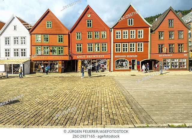 Bryggen, quarter of old hanseatic houses in the harbour of Bergen, Norway