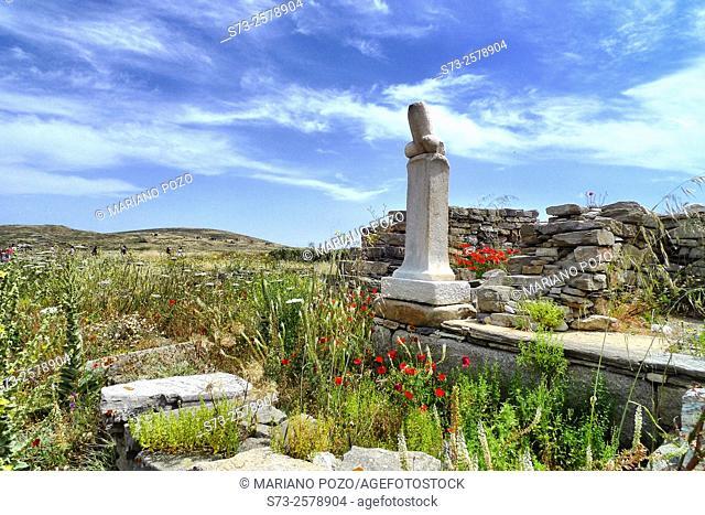 The Exedra of Dionysus on Delos Island, Greece