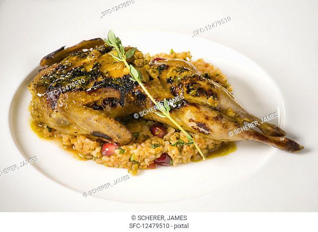 A grilled quail on bulgur wheat