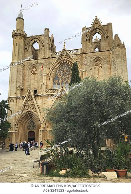 Lala Mustafa Pasha Mosque formerly St. Nicholas Cathedral, Famagusta, Cyprus. The Ficus sycomore tree outside is the oldest living thing on Cyprus