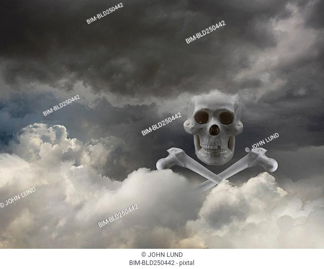 Skull and crossbones in clouds