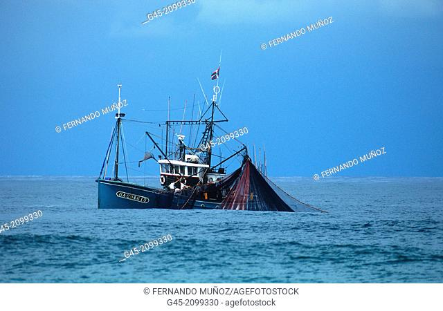 Fishermen in action, Basque Country; France
