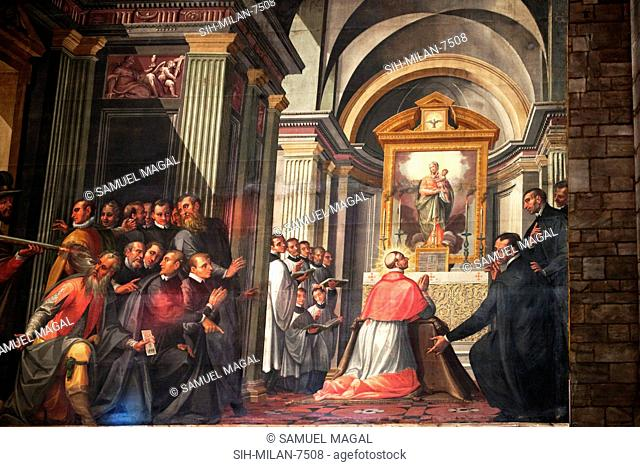 A painting, depicting Christian scenes. The Duomo has the ground plan of a basilica, the Latin cross, with a wide polygonal Apse