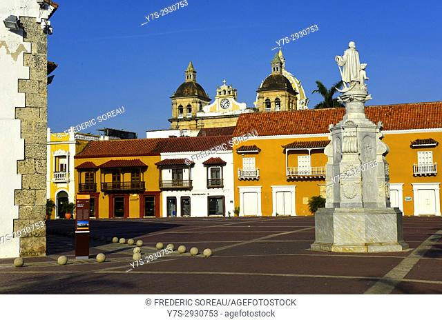 Colorful buildings on the Plaza de Aduana (Custom Square) in Cartagena, Colombia, South America