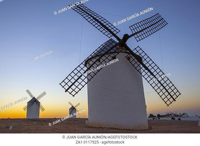 Traditional windmills at sunrise, Campo de Criptana, La Mancha, Spain