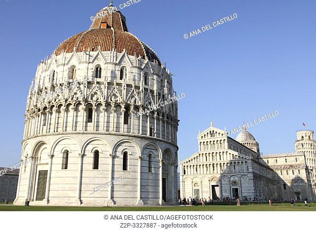 PISA ITALY-JULY 19, 2015: Exterior views of the famous buildings of Pisa at the Square of Miracles on July 19, 2015 in Province of Pisa in the italian region...