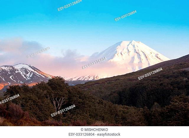 Snow covered volcano in tongariro national park, New Zealand