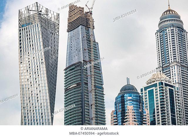 Perspective detailed view at a skyscrapers in Dubai, United Arab Emirates, Construction of a skyscraper