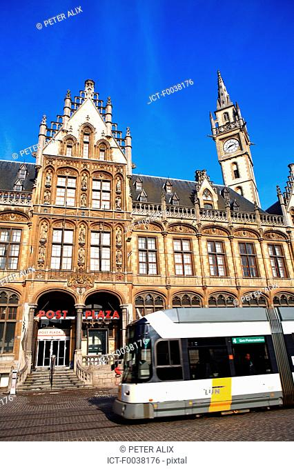 Belgium, Ghent, postal office and clock tower