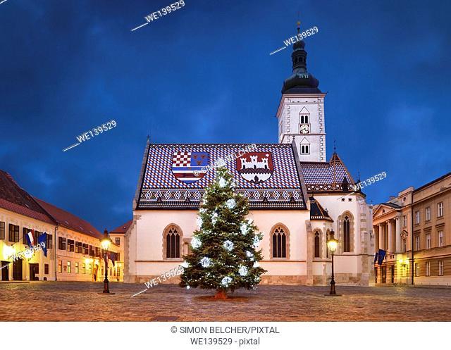 St Mark's Church at Christmas, Zagreb, Croatia