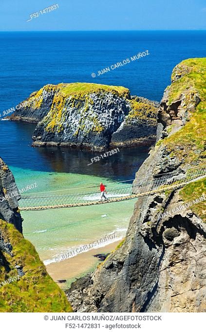 Carrick-A-Rede Rope Bridge  Larrybane Bay  Causeway Coastal Route  Antrim County, Northern Ireland, Europe