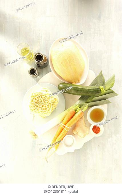 Ingredients for fried mie noodles with chicken breast, carrot and ginger