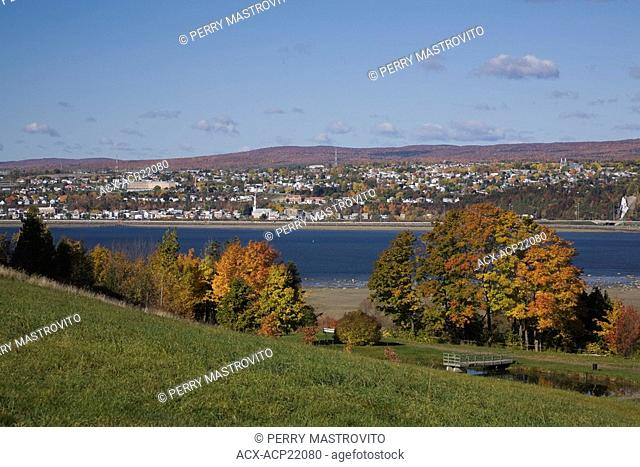 View of Saint-Lawrence river and Beauport from Ile-d'Orleans in autumn, Quebec, Canada