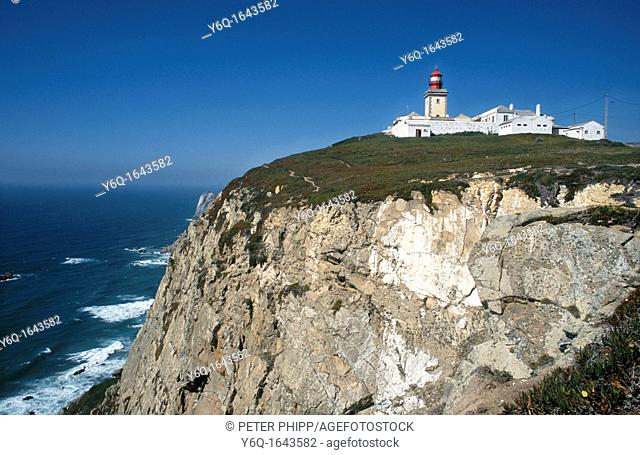 The most westerly piont in Europe  The Lighthouse and cliffs at Cabo da Roca Portugal