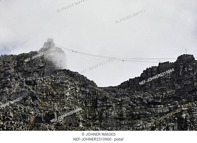 Mountains with cable car line