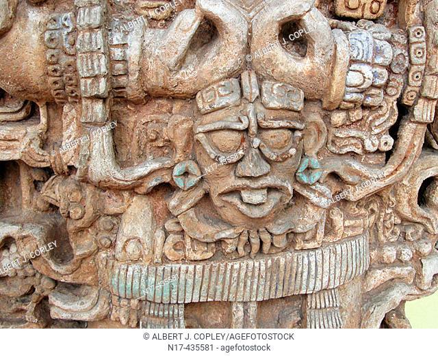 Maya sculpture in museum, Mérida. Yucatán, Mexico
