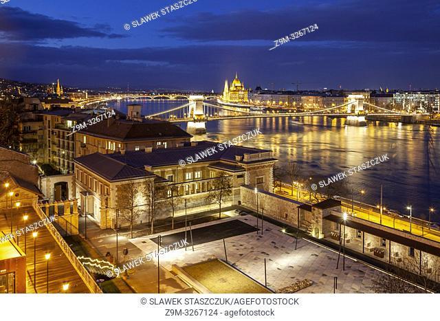 Night falls in Budapest, Hungary