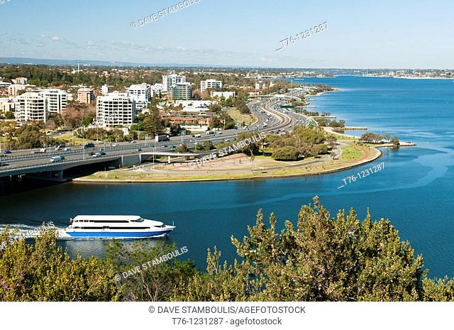 city of Perth along the Swan River