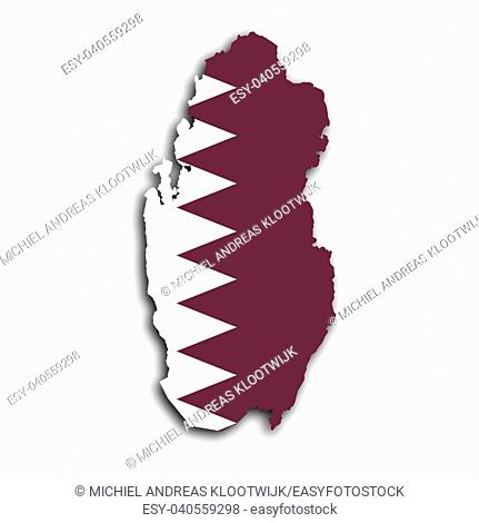 Map of Qatar filled with the national flag