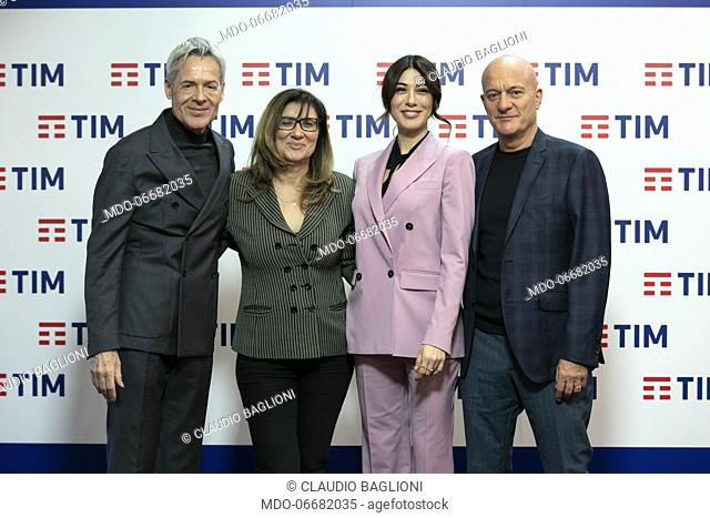 The director of Rai 1 Teresa De Santis and the presenters Claudio Baglioni, Claudio Bisio and Virginia Raffaele in the Press Room of the 69th Sanremo Music...