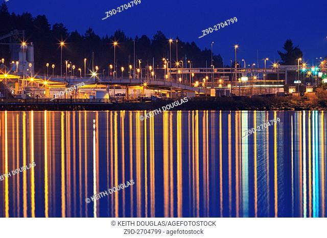 BC Ferry terminal at dusk, Departure Bay, Nanaimo, Vancouver Island, British Columbia