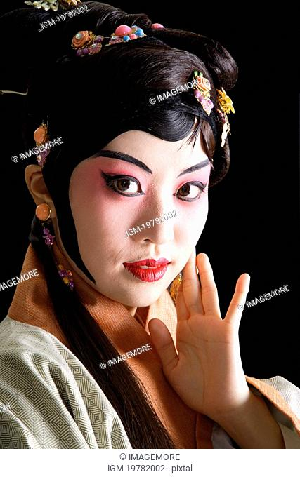 Chinese traditional opera character posing, close-up