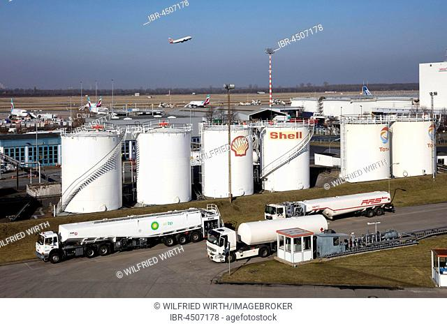 Tank farm at the airport, Düsseldorf, North Rhine-Westphalia, Germany