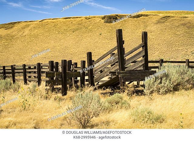 Cattle chute near state route 261, near the Palouse and Snake rivers, Washington state, USA