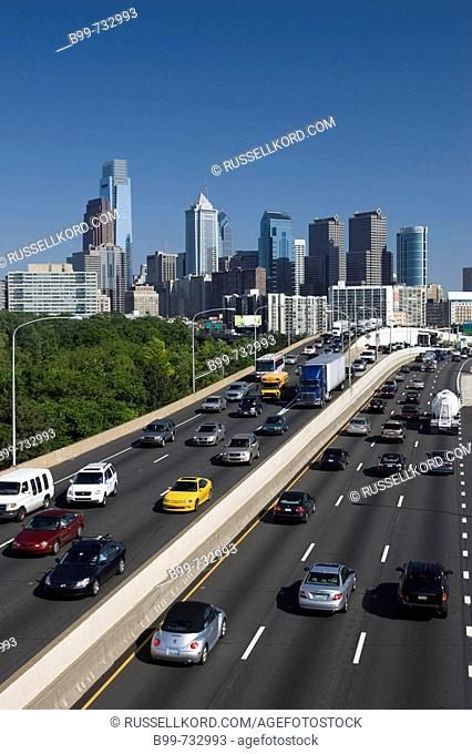 Interstate 76 Schuylkill Expressway Downtown Skyline  Philadelphia  Pennsylvania  USA