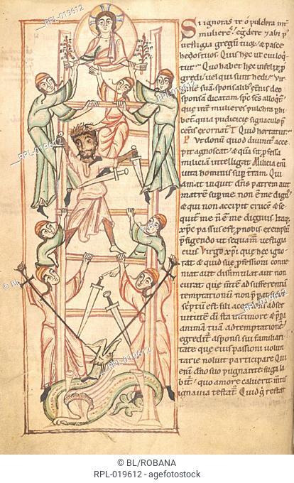 Faithful climb ladder to Christ, Whole folio The Faithful climbing the ladder to Christ, text. Image taken from Speculum Virginum
