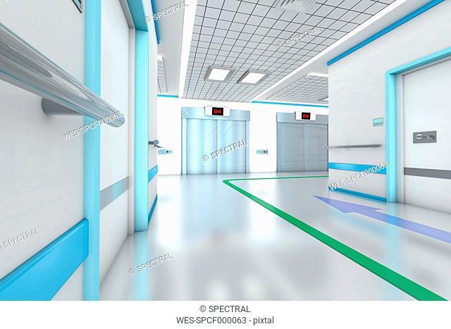 3D rendered illustration, modern hospital