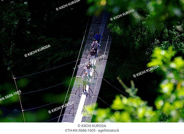 The Yume No Tsuri Bashi (Bridge of Dreams), 30-35 cm wide bridge walkway, strung across the Sumata River of the Sumatakyo Gorge, Shizuoka prefecture, Japan