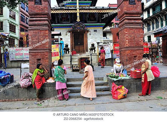 Women in front of a Hindu Temple, Durbar Square, Kathmandu, Nepal