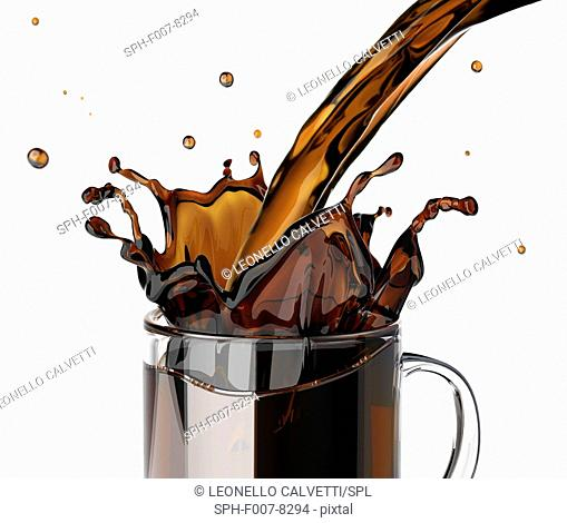 Pouring coffee, computer artwork