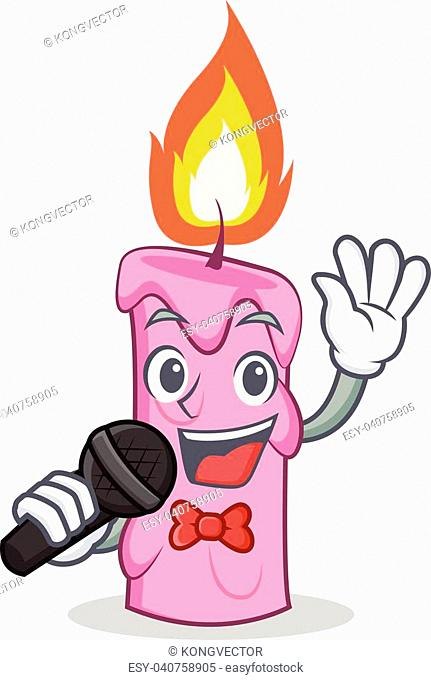 Singing candle character cartoon style vector illustration