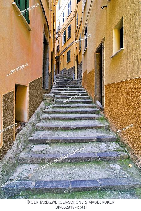 Narrow alley in Vernazzo, Liguria, Cinque Terre, Italy, Europe