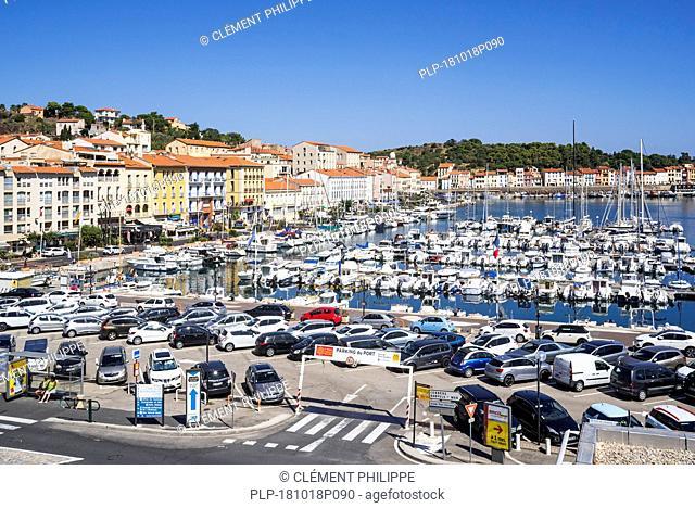 Pleasure boats in marina / yacht basin at Port-Vendres, Mediterranean fishing port along the Côte Vermeille, Pyrénées-Orientales, France