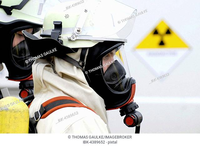 Firefighters with radiation protection, fireman with breathing apparatus and protective suit, Irschenberg, Miesbach, Bavaria