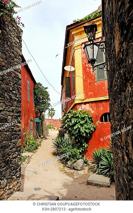 sandy alley at Ile de Goree (Goree Island), Dakar, Senegal, West Africa