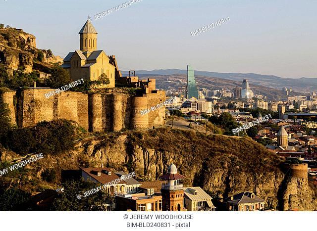 Scenic view of church in Tbilisi, Georgia